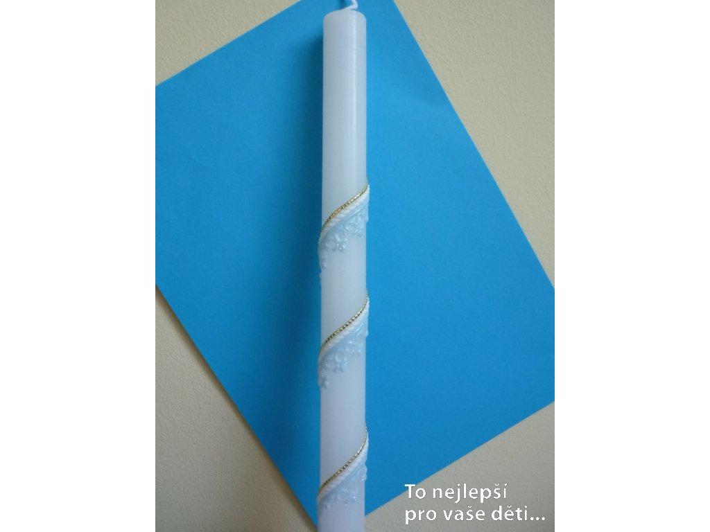 Křestní svíce - modrá spirála