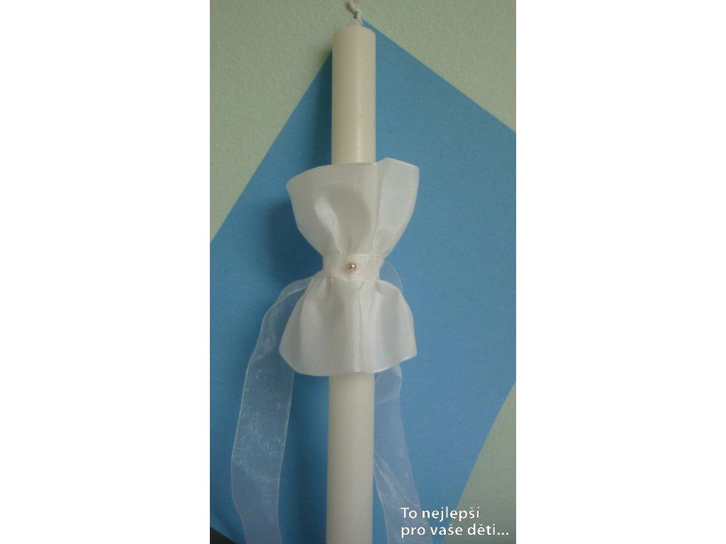 Ozdoba na křestní svíci - sukénka s bílou stužkou