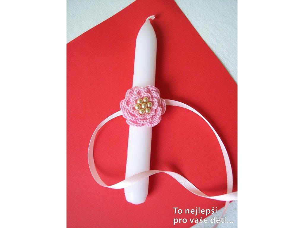 Ozdoba na křestní svíčku růžová