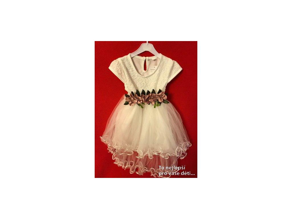 Šaty na křtiny - bílé s ozdobou