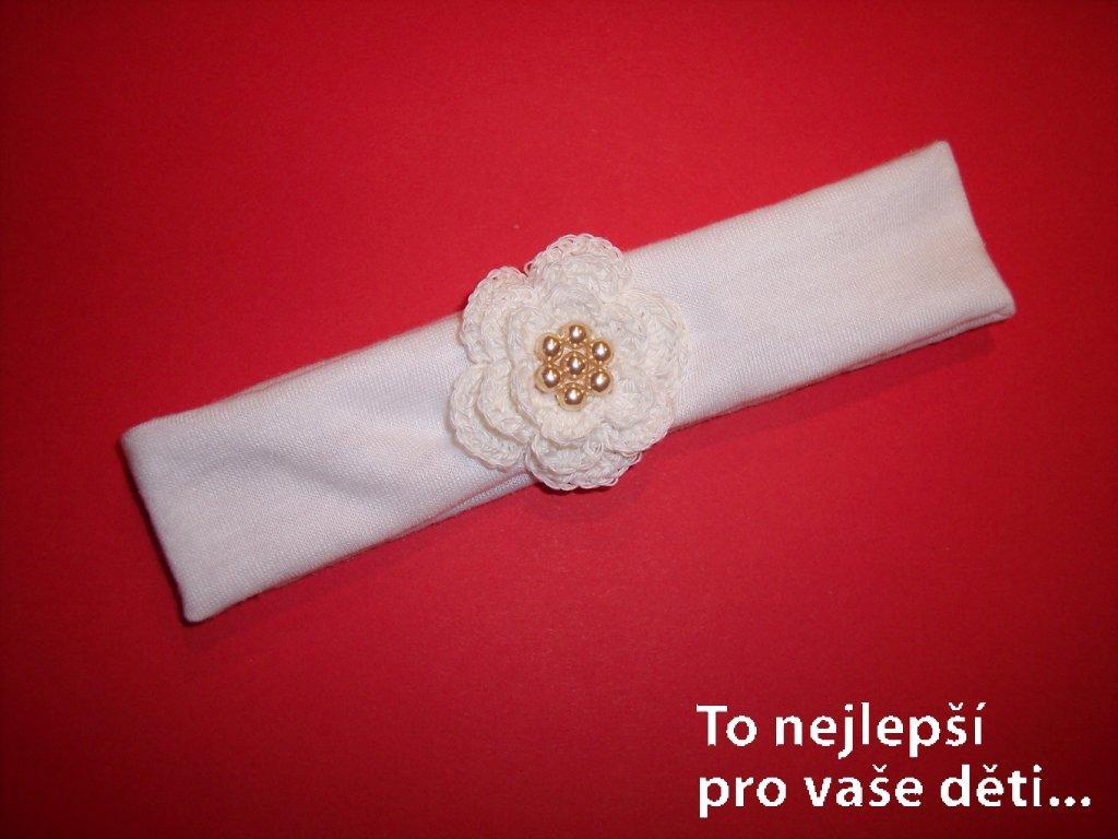 Čelenka s háčkovanou kytičkou bílou