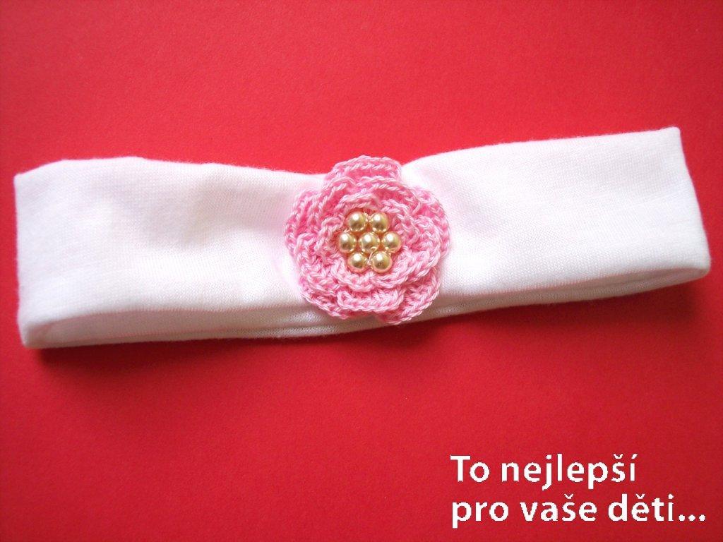 Čelenka s háčkovanou kytičkou růžovou
