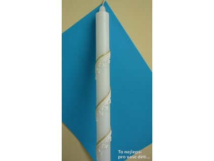 Křestní svíce - bílá spirála