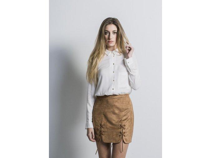 Dámská semišová mini sukně DS62100H hnědá