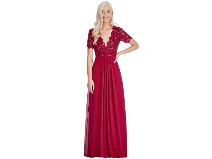 Dlouhé plesové šaty LAUREN WINE