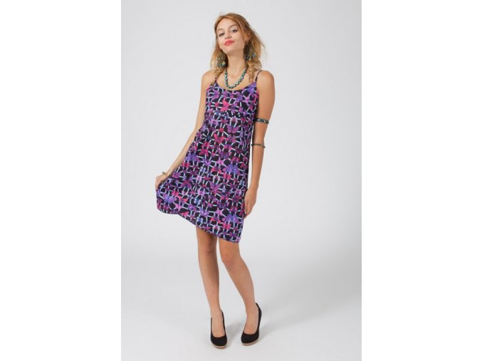 Krátké letní šaty ETNO BLACK LILAC