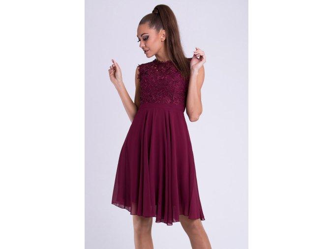 Vínové společenské šaty ew