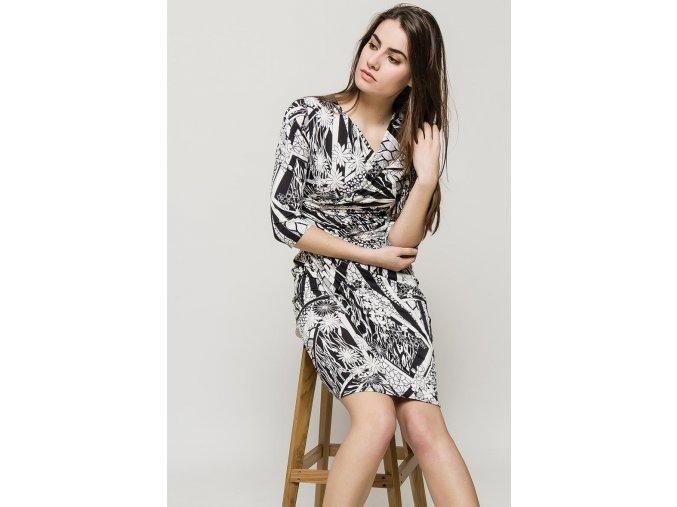 Letní květované šaty NORAH BLACK WHITE