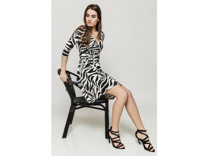 Letní květované šaty ZORA BLACK WHITE