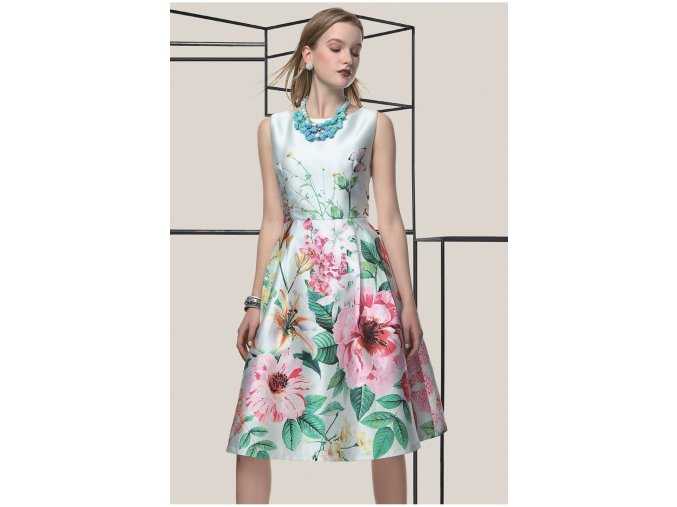 Koktejlové šaty FLOWER GREEN