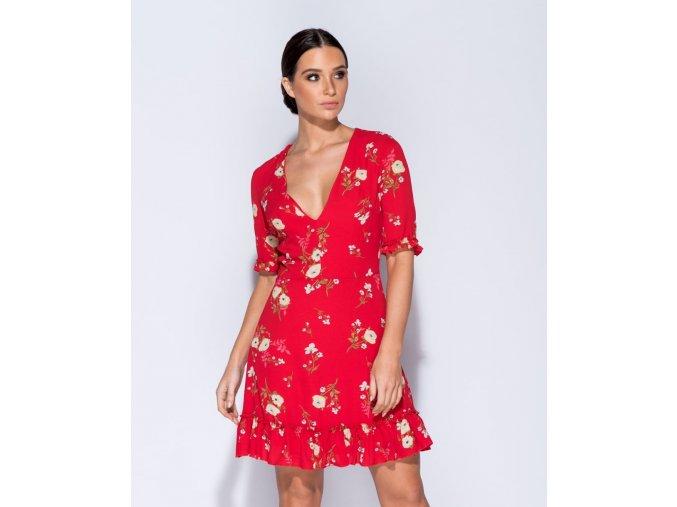 Letní květované mini šaty FLORAL RED