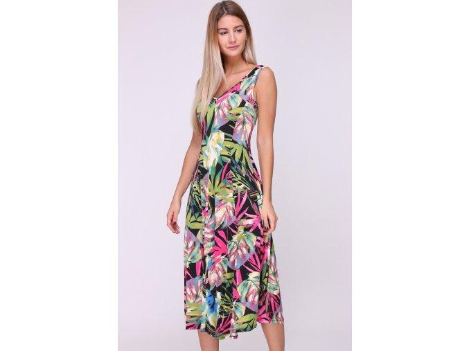 Letní midi šaty OBELLA BLACK TROPICAL