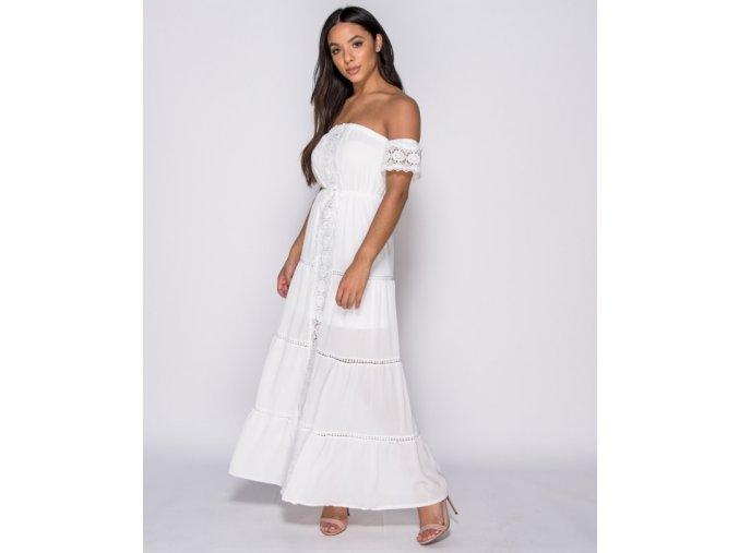 Letní bílé maxi šaty