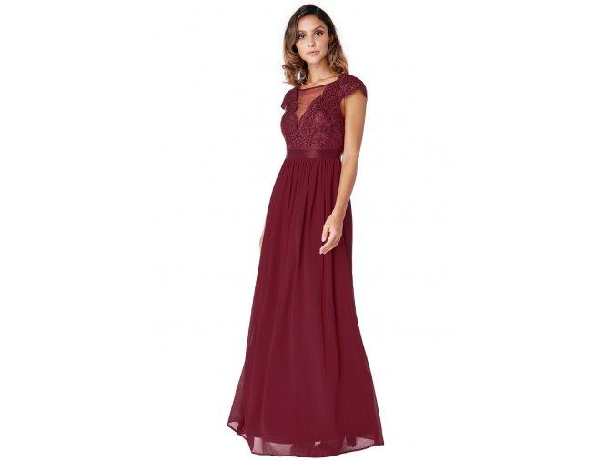 Dlouhé plesové šaty MILY vínové