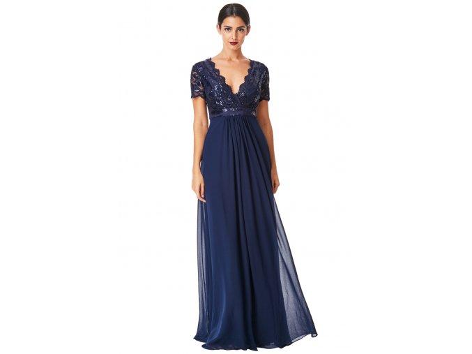 Dlouhé plesové šaty LAUREN tmavě modré