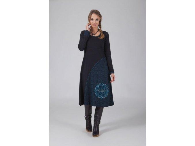 Bavlněné etno midi šaty černé
