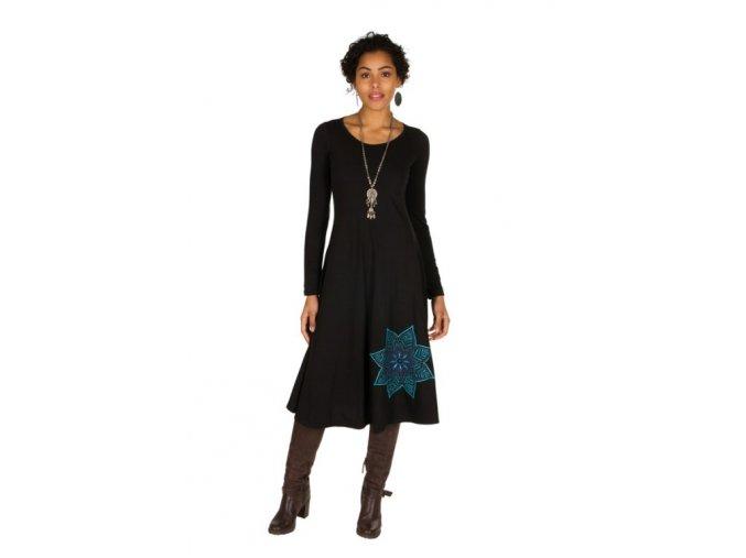 Bavlněné midi šaty černé ETNO