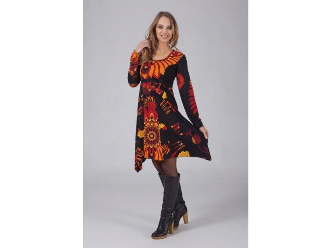 Bavlněné šaty černo oranžové