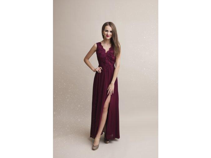 Společenské plesové šaty ROSIE vínové