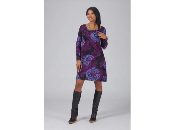 Bavlněné šaty ETNO fialové