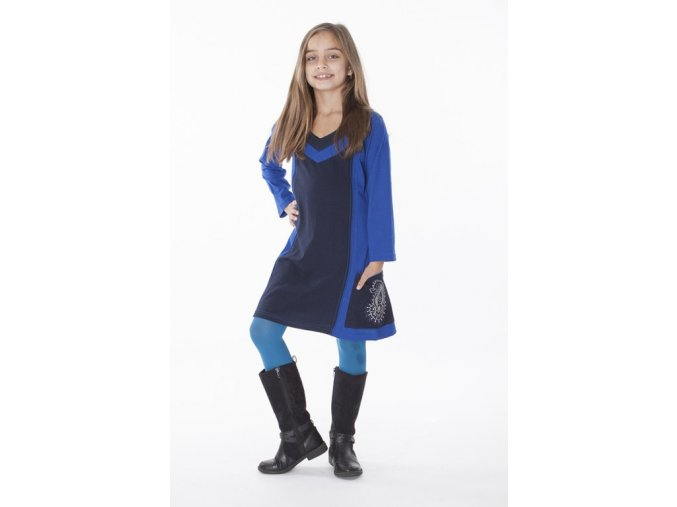 Dívčí bavlněné šaty modré