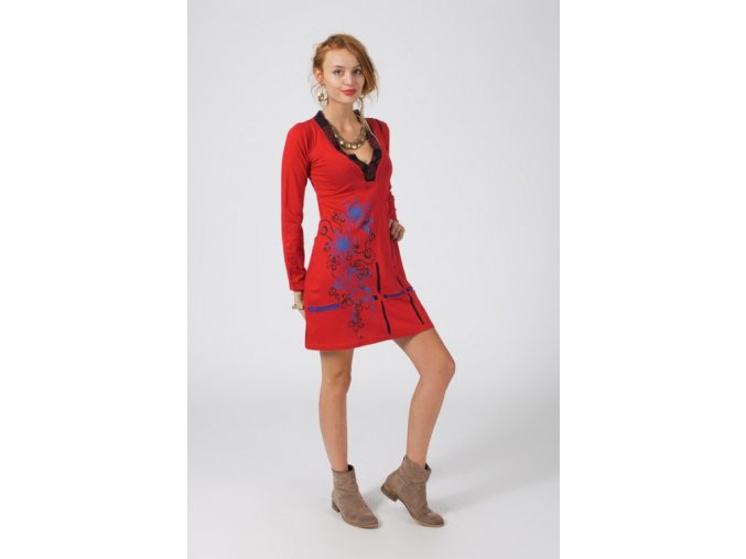 Bavlněné šaty červené JANA