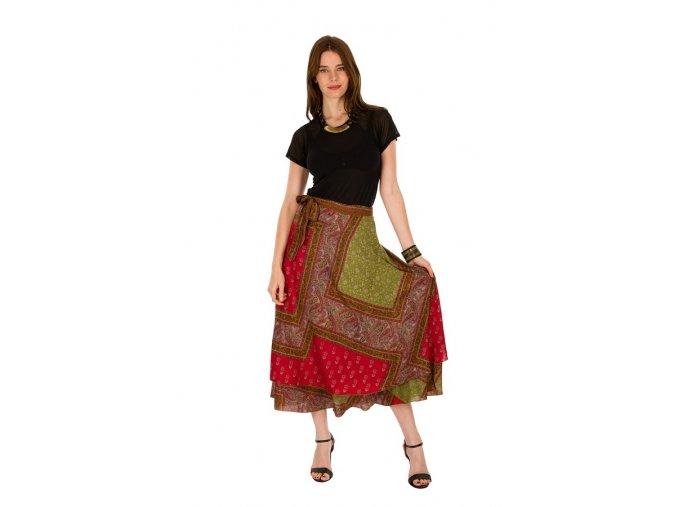 Zavinovací dlouhá sukně barevná