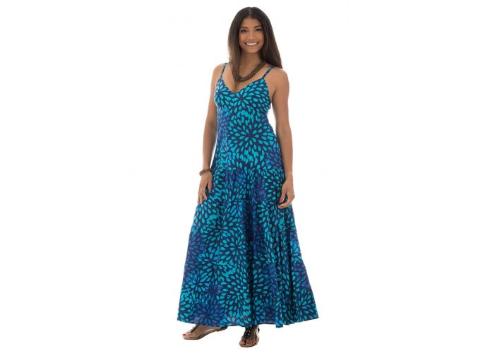 Letní Maxi šaty vzorované modré