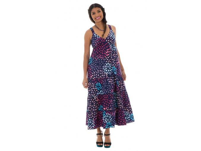 Letní Maxi šaty vzorované Fialové