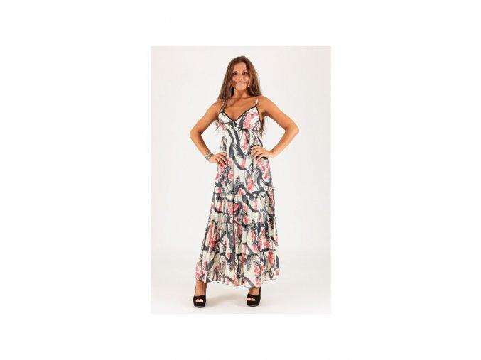 Letní Maxi šaty vzorované béžové barevné
