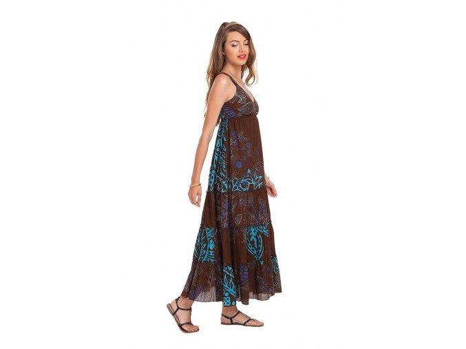 Letní maxi šaty vzorované hnědé
