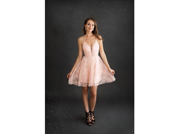Koktejlové Krajkové Šaty MANON růžové