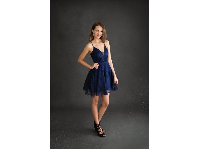 Koktejlové Krajkové Šaty MANON tmavě modré