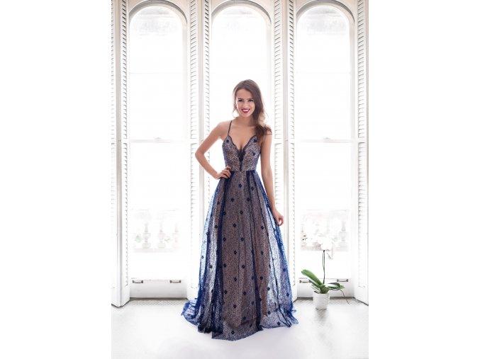 Krajkové Společenské Šaty MAGGIE tmavě modré