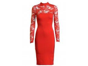 Midi šaty s krajkou CINDRELLA RED