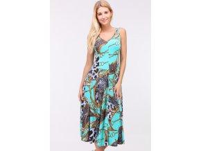 Letní midi šaty OBELLA TYRKYS2