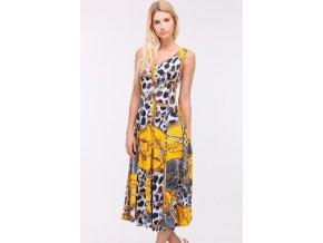 Letní midi šaty OBELLA YELLOWPRINT1