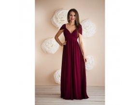 Dlouhé plesové vínové šaty
