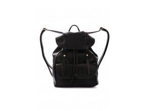 Černý koženkový batoh