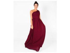 vínové plesové šaty