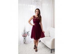 Vínové společenské šaty