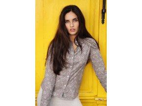 Dámská květovaná košile šedá