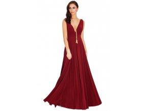 Dlouhé plesové šaty Marylin vínové