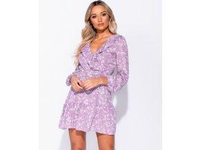 Letní květované Mini šaty fialové