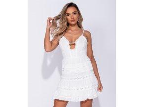 Letní bílé krajkové mini šaty ZIA