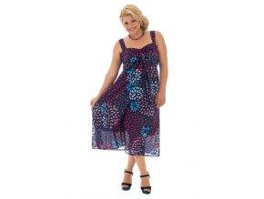 Letní midi šaty vzorované fialové