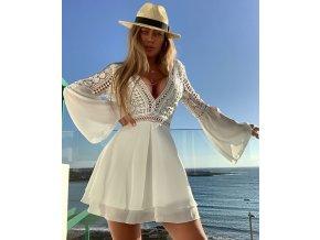 Bílé krajkové mini šaty ZITA