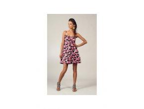 Krátké květované letní šaty černé barevné