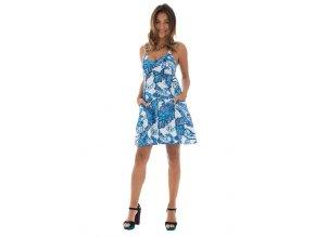 Krátké letní šaty bílo modré
