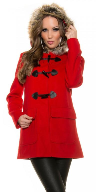 Dámský zimní kabát Koucla DK8038CV červený Barva: Červená, Velikost: XL